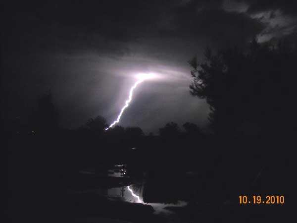 ABC7 viewer Joseph Moore sent in this photo of lightning seen from East Los Angeles on Tuesday, Oct. 19, 2010.