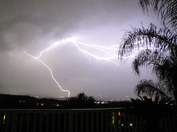 ABC7 viewer Debbie Fumari sent in this photo of lightning seen over Stevenson Ranch on Tuesday, Oct. 19, 2010.  When You Witness breaking news, or even something extraordinary, send pictures and video to video@myabc7.com, or send them to @abc7 on Twitter <span class=meta>(ABC7 viewer Debbie Fumari)</span>