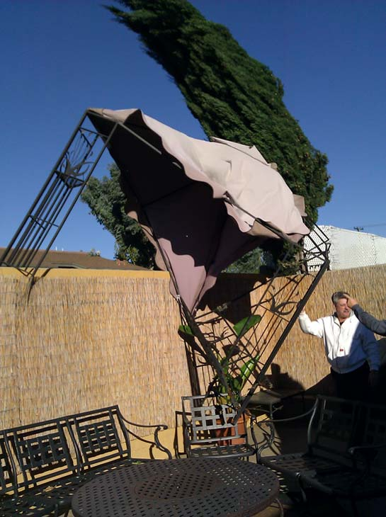 ABC7 viewer Shirley Moore of Chino sent in this photo of wind damage on Thursday, Nov. 11, 2010.  When You Witness breaking news, or even something extraordinary, send pictures and video to video@myabc7.com, or send them to @abc7 on Twitter <span class=meta>(ABC7 viewer Shirley Moore)</span>