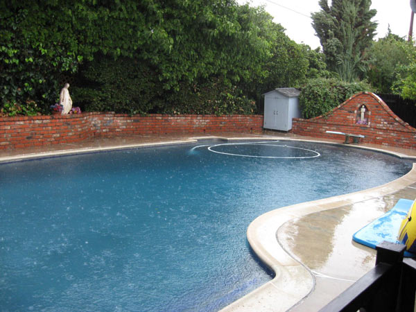 ABC7 viewer Derek Taylor sent in this photo of rain falling in his pool on Sunday, Dec. 19, 2010.  When You Witness breaking news, or even something extraordinary, send pictures and video to video@myabc7.com, or send them to @abc7 on Twitter <span class=meta>(ABC7 viewer Derek Taylor)</span>