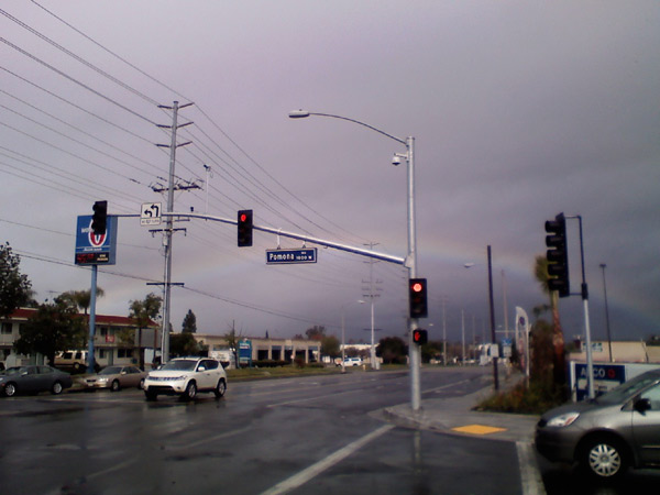 ABC7 viewer Stevie of Corona sent in this photo of a rainbow on Sunday, Dec. 19, 2010.  When You Witness breaking news, or even something extraordinary, send pictures and video to video@myabc7.com, or send them to @abc7 on Twitter <span class=meta>(ABC7 viewer Stevie)</span>