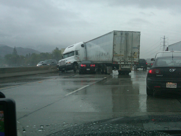 ABC7 viewer Carlee Schaper sent in this photo of a big rig accident on the westbound 210 Freeway near La Tuna Canyon Road in Pasadena on Monday, Dec. 20, 2010.  When You Witness breaking news, or even something extraordinary, send pictures and video to video@myabc7.com, or send them to @abc7 on Twitter <span class=meta>(ABC7 viewer Carlee Schaper)</span>
