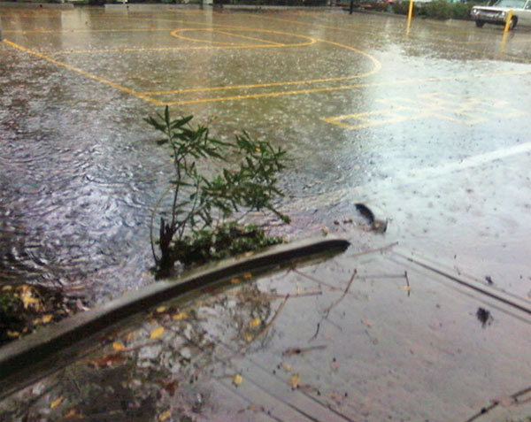 An ABC7 viewer sent in this photo of a flooded basketball court in West Covina on Monday, Dec. 20, 2010.   When You Witness breaking news, or even something extraordinary, send pictures and video to video@myabc7.com, or send them to @abc7 on Twitter <span class=meta>(ABC7 viewer)</span>