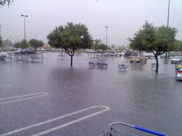 ABC7 viewer Chris Grant sent in this photo of flooding at a Sam&#39;s Club parking lot in Glendora, Calif., on Monday, Dec. 20, 2010.  When You Witness breaking news, or even something extraordinary, send pictures and video to video@myabc7.com, or send them to @abc7 on Twitter <span class=meta>(ABC7 viewer Chris Grant of San Dimas)</span>