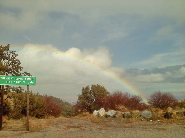 ABC7 viewer Annie Liuzzi sent in this photo of a rainbow seen during her drive from Big Bear to Lucerne on Highway 18 on Monday, Dec. 20, 2010.  When You Witness breaking news, or even something extraordinary, send pictures and video to video@myabc7.com, or send them to @abc7 on Twitter <span class=meta>(ABC7 viewer Annie Liuzzi)</span>