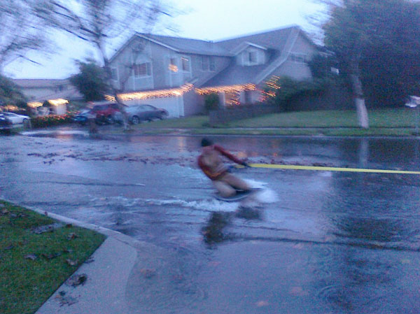 An ABC7 viewer sent in this photo of someone waterskiing on the flooded Napa Circle in Cerritos on Monday, Dec. 20, 2010.  When You Witness breaking news, or even something extraordinary, send pictures and video to video@myabc7.com, or send them to @abc7 on Twitter <span class=meta>(ABC7 viewer)</span>