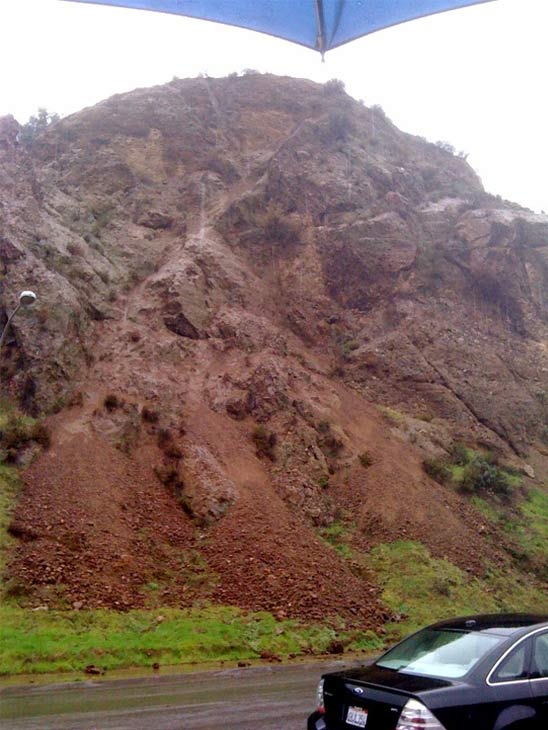 ABC7 viewer Steve French sent in this photo of a rock slide in Castaic on Monday, Dec. 20, 2010.  When You Witness breaking news, or even something extraordinary, send pictures and video to video@myabc7.com, or send them to @abc7 on Twitter <span class=meta>(ABC7 viewer Steve French)</span>