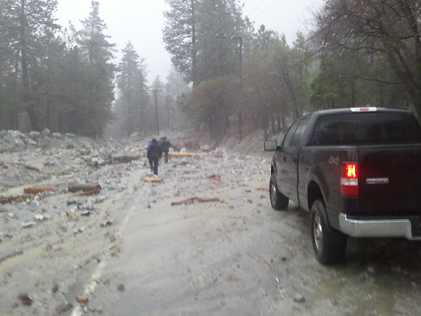 An ABC7 viewer sent in this photo of the road to Forest Falls blocked on Tuesday, Dec. 21, 2010.  When You Witness breaking news, or even something extraordinary, send pictures and video to video@myabc7.com, or send them to @abc7 on Twitter <span class=meta>(ABC7 viewer)</span>