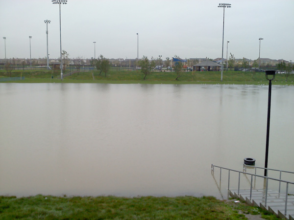 ABC7 viewer Amber Ramirez sent in this photo of flooding at a park in Eastvale, Calif., on Tuesday, Dec. 21, 2010.    When You Witness breaking news, or even something extraordinary, send pictures and video to video@myabc7.com, or send them to @abc7 on Twitter <span class=meta>(ABC7 viewer Amber Ramirez)</span>