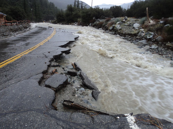 ABC7 viewer Liz Glick sent in this photo of Mt. Baldy Road damaged by the rain storm on Tuesday, Dec. 21, 2010.   When You Witness breaking news, or even something extraordinary, send pictures and video to video@myabc7.com, or send them to @abc7 on Twitter <span class=meta>(ABC7 viewer Liz Glick)</span>