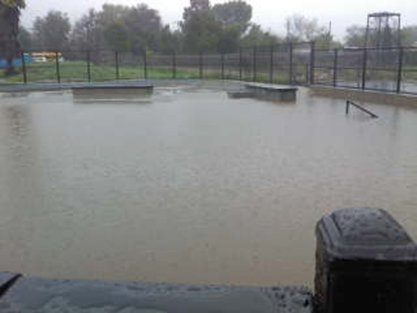 ABC7 viewer Sommer Frisk sent in this photo of the new Ojai skate park completely submerged under water on Tuesday, Dec. 21, 2010.  When You Witness breaking news, or even something extraordinary, send pictures and video to video@myabc7.com, or send them to @abc7 on Twitter <span class=meta>(ABC7 viewer Sommer Frisk)</span>