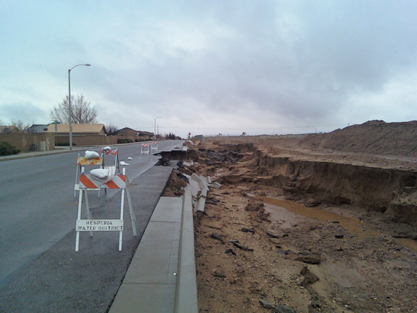 An ABC7 viewer sent in this photo of road damage in Victorville on Tuesday, Dec. 21, 2010.   When You Witness breaking news, or even something extraordinary, send pictures and video to video@myabc7.com, or send them to @abc7 on Twitter <span class=meta>(ABC7 viewer)</span>