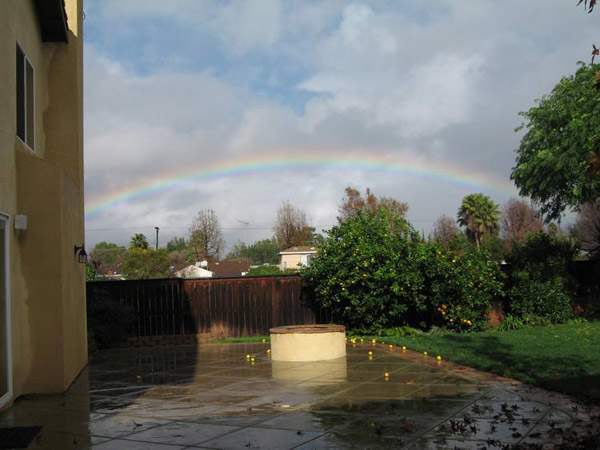 ABC7 viewer Larry Reader sent in this photo of a rainbow in Encino on Wednesday, Dec. 22, 2010.  When You Witness breaking news, or even something extraordinary, send pictures and video to video@myabc7.com, or send them to @abc7 on Twitter <span class=meta>(ABC7 viewer Larry Reader)</span>