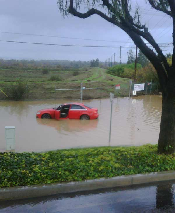 ABC7 viewer Bruce Flander sent in a photo of flooding taken near the Corona Municipal Airport on Wednesday, Dec. 22, 2010.  When You Witness breaking news, or even something extraordinary, send pictures and video to video@myabc7.com, or send them to @abc7 on Twitter <span class=meta>(ABC7 viewer Bruce Flander)</span>