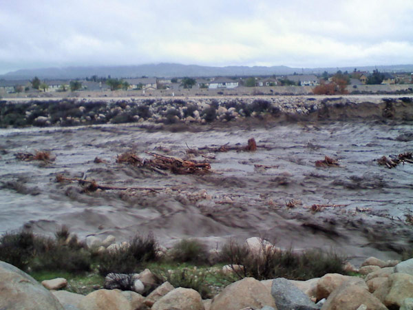 An ABC7 viewer sent in this photo of an overflowing creek off Greenspot Road in Highland on Wednesday, Dec. 22, 2010.   When You Witness breaking news, or even something extraordinary, send pictures and video to video@myabc7.com, or send them to @abc7 on Twitter <span class=meta>(ABC7 viewer)</span>