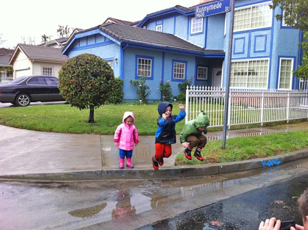 ABC7 viewer Sherrie sent in this photo of her grandkids playing in puddles in Woodland Hills on Wednesday, Dec. 22, 2010.  When You Witness breaking news, or even something extraordinary, send pictures and video to video@myabc7.com, or send them to @abc7 on Twitter <span class=meta>(ABC7 viewer Sherrie)</span>