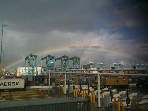 ABC7 viewer Kimberly sent in this photo of a rainbow at the Port of Los Angeles on Wednesday, Dec. 22, 2010.   When You Witness breaking news, or even something extraordinary, send pictures and video to video@myabc7.com, or send them to @abc7 on Twitter <span class=meta>(ABC7 viewer Kimberly)</span>