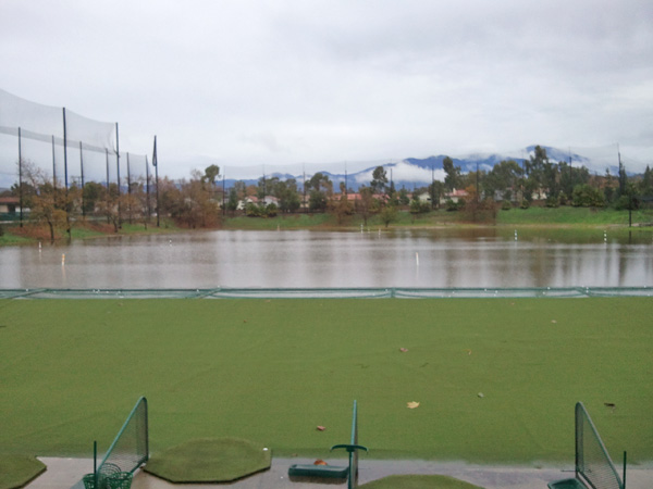 ABC7 viewer Brian Konrath sent in this photo of flooding at Lake Forest Golf Center&#39;s driving range on Wednesday, Dec. 22, 2010.  When You Witness breaking news, or even something extraordinary, send pictures and video to video@myabc7.com, or send them to @abc7 on Twitter <span class=meta>(ABC7 viewer Brian Konrath)</span>