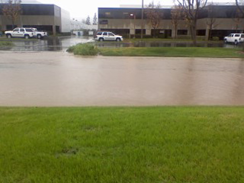 ABC7 viewer Lydia Miller sent in this photo of flooding on Business Center Drive in Loma Linda on Wednesday, Dec. 22, 2010.  When You Witness breaking news, or even something extraordinary, send pictures and video to video@myabc7.com, or send them to @abc7 on Twitter <span class=meta>(ABC7 viewer Lydia Miller)</span>