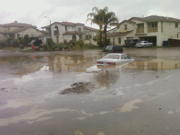 ABC7 viewer Tracie sent in this photo of flooding in a Loma Linda neighborhood on Wednesday, Dec. 22, 2010.  When You Witness breaking news, or even something extraordinary, send pictures and video to video@myabc7.com, or send them to @abc7 on Twitter <span class=meta>(ABC7 viewer Tracie)</span>