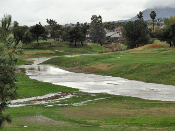 ABC7 viewer Nancy Short sent in this photo of the Moreno Valley Golf Course flooded on Wednesday, Dec. 22, 2010. &#39;We usually get a bit of a stream going between the 5th and 6th fairways when it rains, but today we have a small river flowing and the ducks are loving it!&#39;   When You Witness breaking news, or even something extraordinary, send pictures and video to video@myabc7.com, or send them to @abc7 on Twitter <span class=meta>(ABC7 viewer Nancy Short)</span>