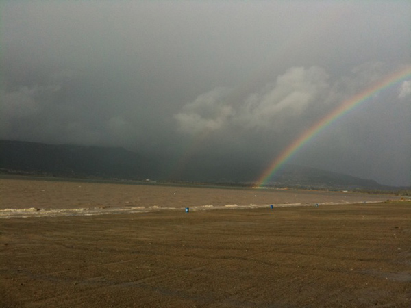 ABC7 viewer Lance Mark Poldberg sent in this photo of a rainbow in Lake Elsinore on Wednesday, Dec. 22, 2010.  When You Witness breaking news, or even something extraordinary, send pictures and video to video@myabc7.com, or send them to @abc7 on Twitter <span class=meta>(ABC7 viewer Lance Mark Poldberg)</span>