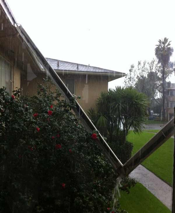 ABC7 viewer Arianna Reel sent in a photo of a broken gutter on Wednesday, Dec. 22, 2010.  When You Witness breaking news, or even something extraordinary, send pictures and video to video@myabc7.com, or send them to @abc7 on Twitter <span class=meta>(ABC7 viewer Arianna Reel)</span>