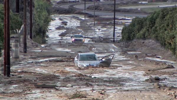 Casper News sent in this photo of vehicles stuck in the mud in San Timoteo Canyon on Wednesday, Dec. 22, 2010.   When You Witness breaking news, or even something extraordinary, send pictures and video to video@myabc7.com, or send them to @abc7 on Twitter <span class=meta>(Casper News)</span>