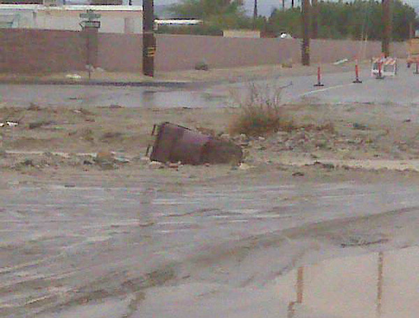 ABC7 viewer Josh McMeans sent in this photo of Roman Road in Thousand Palms flooded on Wednesday, Dec. 22, 2010.   When You Witness breaking news, or even something extraordinary, send pictures and video to video@myabc7.com, or send them to @abc7 on Twitter <span class=meta>(ABC7 viewer Josh McMeans)</span>