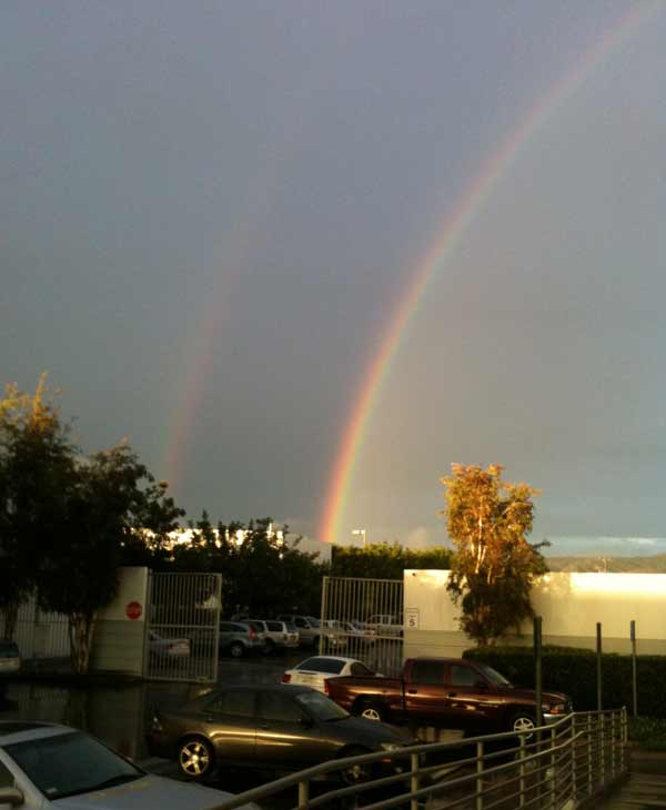 ABC7 viewer Carol Uribe sent in a photo of a double rainbow in Santa Fe Springs on Wednesday, Dec. 22, 2010.  When You Witness breaking news, or even something extraordinary, send pictures and video to video@myabc7.com, or send them to @abc7 on Twitter <span class=meta>(ABC7 viewer Carol Uribe)</span>