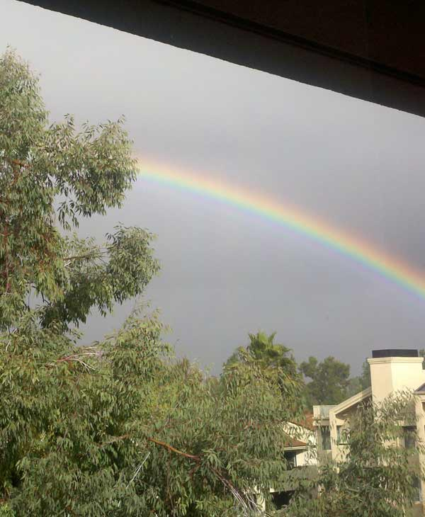 ABC7 viewer Michael Weiss sent in this photo of a rainbow in Woodland Hills on Wednesday, Dec. 22, 2010.  When You Witness breaking news, or even something extraordinary, send pictures and video to video@myabc7.com, or send them to @abc7 on Twitter <span class=meta>(ABC7 viewer Michael Weiss)</span>