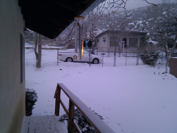 An ABC7 viewer sent in this photo of snow in Frazier Park, Calif. on Sunday Jan. 2, 2011.  When You Witness breaking news, or even something extraordinary, send pictures and video to video@myabc7.com, or send them to @abc7 on Twitter <span class=meta>(ABC7 viewer)</span>