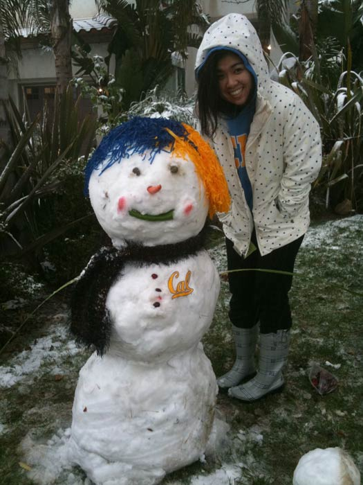 An ABC7 viewer sent in this photo of a snowman in Stevenson Ranch, Calif. on Sunday Jan. 2, 2011.  When You Witness breaking news, or even something extraordinary, send pictures and video to video@myabc7.com, or send them to @abc7 on Twitter <span class=meta>(ABC7 viewer)</span>