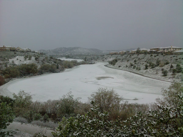 ABC7 viewer Dennis Murray of Valencia, Calif., sent in this photo of snow on a golf course, seen from his backyard on Sunday Jan. 2, 2011.  When You Witness breaking news, or even something extraordinary, send pictures and video to video@myabc7.com, or send them to @abc7 on Twitter <span class=meta>(ABC7 viewer Dennis Murray)</span>