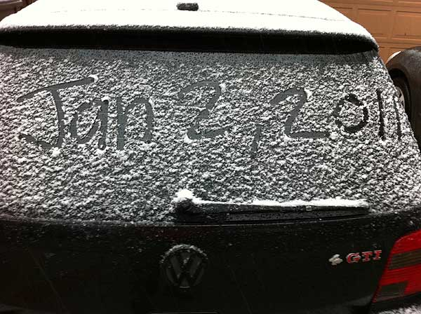 ABC7 viewer Greg Wong sent in this photo of snow in Newhall, Calif. on Sunday Jan. 2, 2011.  When You Witness breaking news, or even something extraordinary, send pictures and video to video@myabc7.com, or send them to @abc7 on Twitter <span class=meta>(ABC7 viewer Greg Wong)</span>