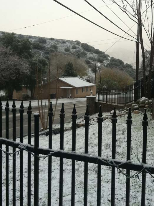 ABC7 viewer David Stamps sent in this photo of snow in Agua Dulce, Calif. on Sunday Jan. 2, 2011.   When You Witness breaking news, or even something extraordinary, send pictures and video to video@myabc7.com, or send them to @abc7 on Twitter <span class=meta>(ABC7 viewer David Stamps)</span>