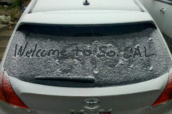 "<div class=""meta ""><span class=""caption-text "">ABC7 viewer Chris Largent  sent in this photo of a snow in Canyon Country, Calif. on Sunday Jan. 2, 2011.  When You Witness breaking news, or even something extraordinary, send pictures and video to video@myabc7.com, or send them to @abc7 on Twitter (ABC7 viewer Chris Largent)</span></div>"