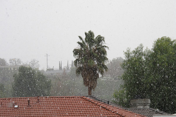 ABC7 viewer Sean Kakumu  sent in this photo of snow in Canyon Country, Calif. on Sunday Jan. 2, 2011.