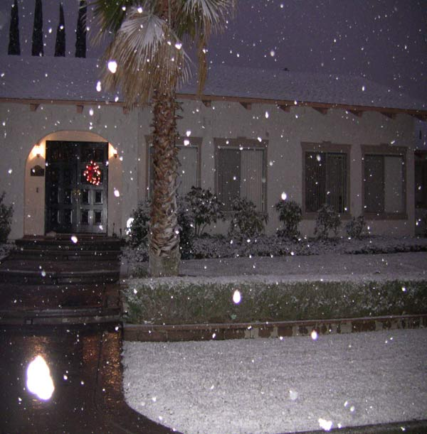 ABC7 viewer Starla B. sent in this photo of snow in Lancaster, Calif. on Sunday Jan. 2, 2011.  When You Witness breaking news, or even something extraordinary, send pictures and video to video@myabc7.com, or send them to @abc7 on Twitter <span class=meta>(ABC7 viewer Starla B.)</span>