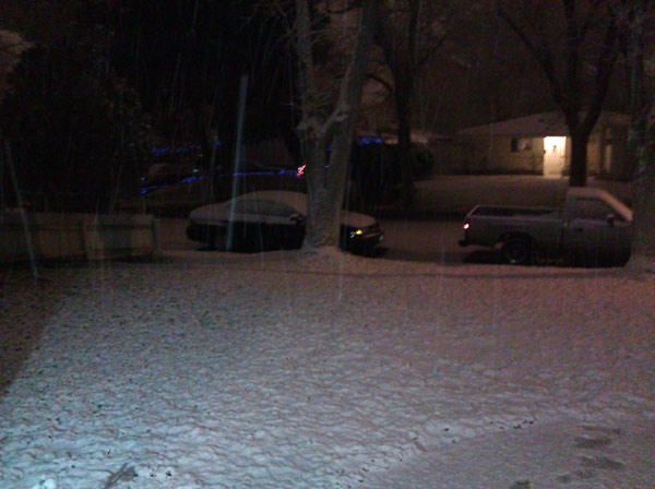 ABC7 viewer Justin Reyes sent in this photo of snow on his front yard in Lancaster, Calif. on Monday Jan. 3, 2011.