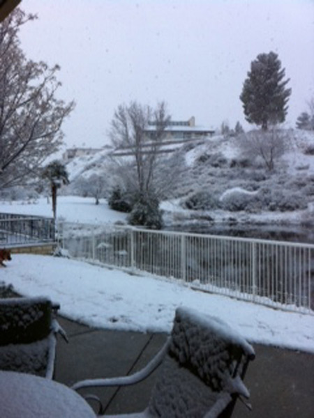 ABC7 viewer Lea Ann of Victorville sent in this photo of snow on the Spring Valley Lake Golf Course  on Monday Jan. 3, 2011.  When You Witness breaking news, or even something extraordinary, send pictures and video to video@myabc7.com, or send them to @abc7 on Twitter <span class=meta>(ABC7 viewer Lea Ann)</span>