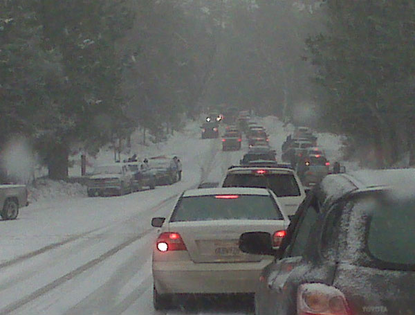 ABC7 viewers from the Reed Family sent in this photo of traffic on Highway 38 leaving Big Bear on Sunday Jan. 2, 2011.  When You Witness breaking news, or even something extraordinary, send pictures and video to video@myabc7.com, or send them to @abc7 on Twitter <span class=meta>(ABC7 viewer Reed Family)</span>