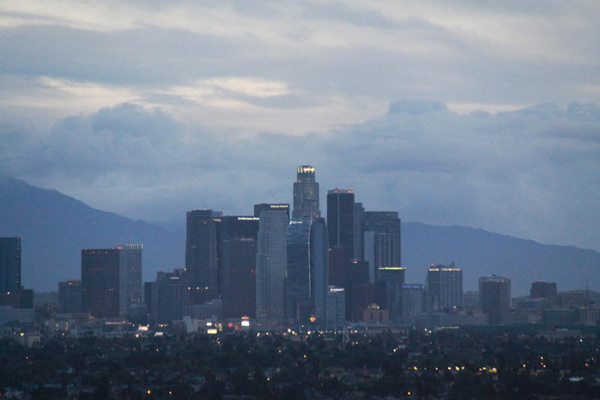 ABC7 viewer Willie Jordan sent in this photo of rain clouds over downtown Los Angeles on Saturday Feb. 19, 2011.