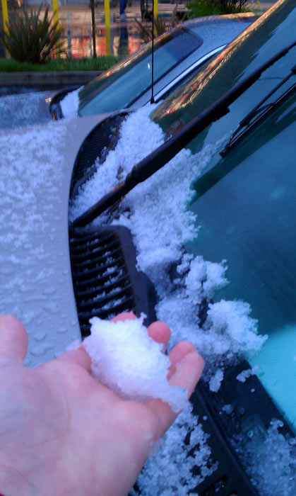 "<div class=""meta image-caption""><div class=""origin-logo origin-image ""><span></span></div><span class=""caption-text"">ABC7 viewer Elizabeth Braeutigam sent in this photo of hail on her car in San Clemente on Saturday, Feb. 19, 2011.  When You Witness breaking news, or even something extraordinary, send pictures and video to video@myabc7.com, or send them to @abc7 on Twitter (KABC photo/Elizabeth Braeutigam)</span></div>"
