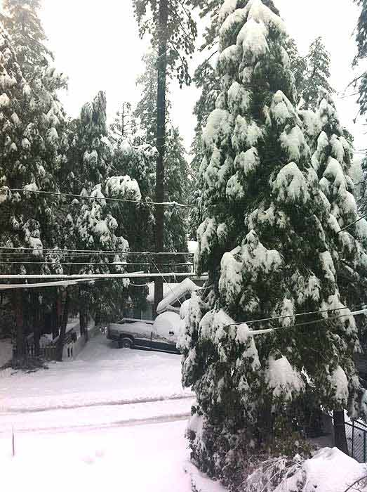 ABC7 viewer Fadel Hanoun sent in this photo of snow in Crestline, Calif. on Saturday Feb. 26, 2011.  When You Witness breaking news, or even something extraordinary, send pictures and video to video@myabc7.com, or send them to @abc7 on Twitter  <span class=meta>(KABC photo&#47; Fadel Hanoun)</span>