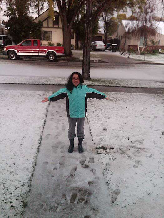 ABC7 viewer Michelle Hedman sent in this photo of snow in Burbank, Calif. on Saturday Feb. 26, 2011.  When You Witness breaking news, or even something extraordinary, send pictures and video to video@myabc7.com, or send them to @abc7 on Twitter  <span class=meta>(KABC photo&#47; Michelle Hedman)</span>