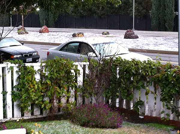 An unnamed ABC7 viewer sent in this photo of a snow at the Burbank-North Hollywood border in California on Saturday Feb. 26, 2011.  When You Witness breaking news, or even something extraordinary, send pictures and video to video@myabc7.com, or send them to @abc7 on Twitter <span class=meta>(KABC photo)</span>