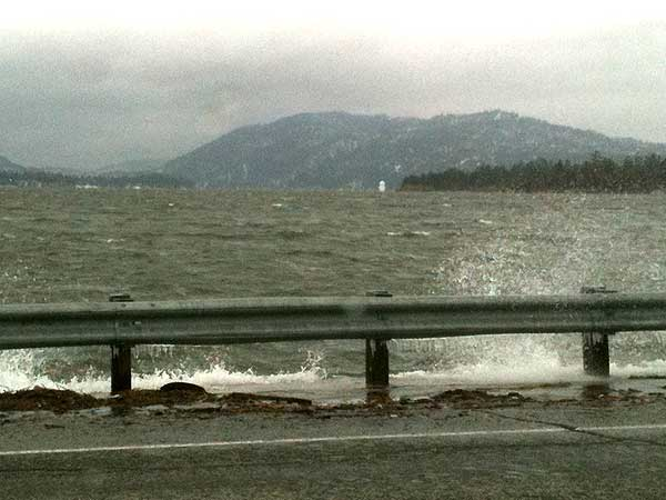 ABC7 viewer Paul Mitton sent in this photo of water brimming at Big Bear Lake, Calif., during a storm on Sunday March 20, 2011.  When You Witness breaking news, or even something extraordinary, send pictures and video to video@myabc7.com, or send them to @abc7 on Twitter <span class=meta>(KABC photo&#47; Paul Mitton)</span>