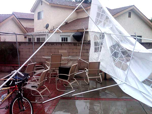 ABC7 viewer Gabe Sanchez sent in this photo of a fallen tent at his Southern California home caused by strong winds on Sunday March 20, 2011.  When You Witness breaking news, or even something extraordinary, send pictures and video to video@myabc7.com, or send them to @abc7 on Twitter  <span class=meta>(KABC photo&#47; Gabe Sanchez)</span>