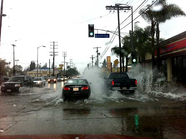 ABC7 viewer Steve Silvas sent in this photo of flooding at Laurel Canyon and Magnolia boulevards near Sherman Village on Sunday March 20, 2011.  When You Witness breaking news, or even something extraordinary, send pictures and video to video@myabc7.com, or send them to @abc7 on Twitter <span class=meta>(KABC photo&#47; Steve Silvas)</span>